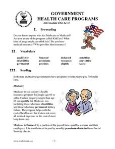 Government Health Care Programs Lesson Plan