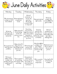 June Daily Activities Worksheet