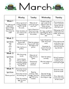March Daily Activities Lesson Plan