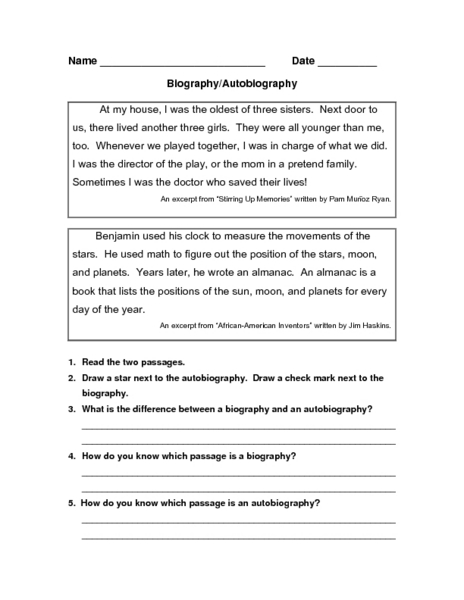 Biography Autobiography Worksheet For 3rd 7th Grade