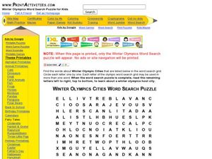 Winter Olympic Cities Word Search Puzzle Worksheet