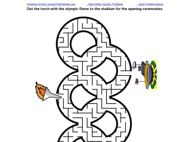 Olympic Torch Maze Worksheet