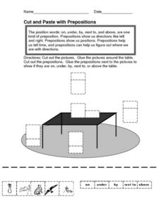 Cut and Paste with Prepositions Worksheet