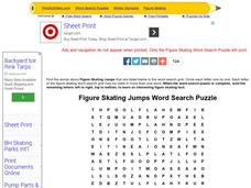 Figure Skating Jumps Word Search Puzzle Worksheet