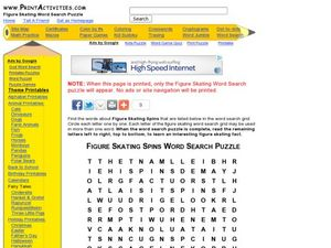 Figure Skating Spins Word Search Puzzle Worksheet