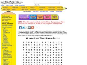 Olympic Luge Word Search Puzzle Worksheet
