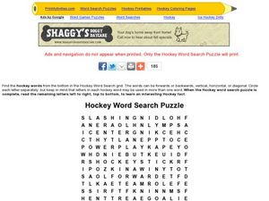 Hockey Word Search Puzzle Worksheet