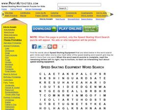 Speed Skating Equipment Word Search Worksheet