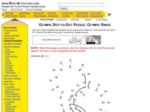 Olympic Dot-to-Dot Puzzle: Olympic Rings Worksheet