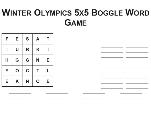 Winter Olympics 5x5 Boggle Word game Worksheet for 3rd