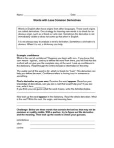 Words with Less Common Derivatives Worksheet