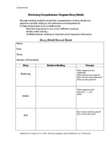 Monitoring Comprehension Progress: Story Retells Lesson Plan