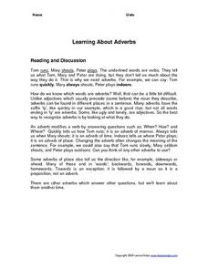 Learning About Adverbs Worksheet