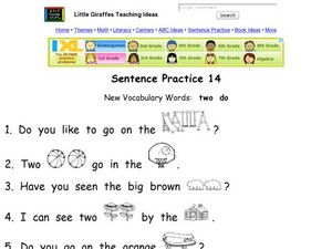 Sentence Practice 14 Worksheet