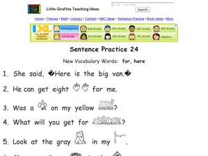Sentence Practice 24 Worksheet