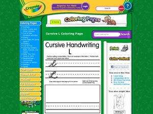 Cursive Handwriting L Worksheet