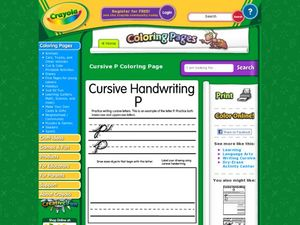 Cursive Handwriting: P Worksheet