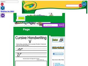 Cursive Handwriting Vv Worksheet