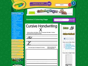 Cursive Handwriting: X Worksheet