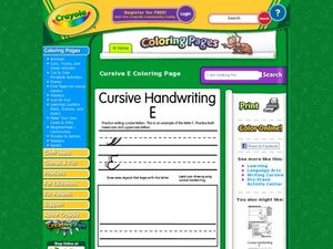 Cursive Handwriting: E Worksheet
