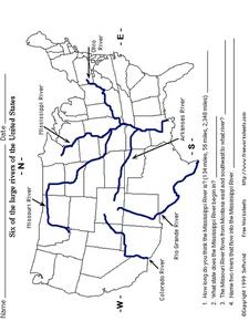 Six of the Large Rivers of the United States Worksheet for