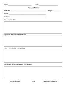 My Book Review Worksheet