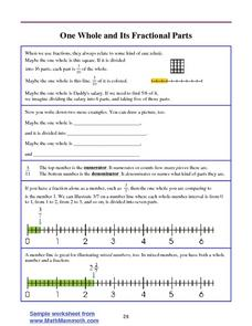 One Whole and Its Fractional Parts Worksheet