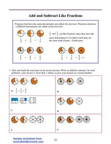 Add and Subtract Like Fractions Worksheet
