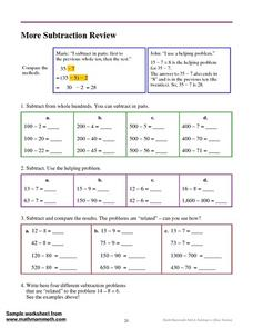 More Subtraction Review Worksheet