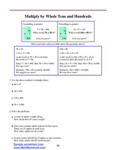 Multiply by Whole Tens and Hundreds Worksheet