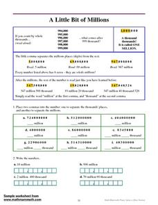 A Little Bit of Millions Worksheet