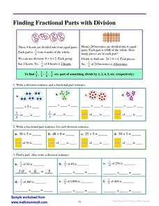 Finding Parts with Division Worksheet