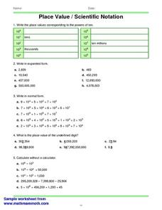 Place Value/Scientific Notation Worksheet