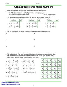 Three Denominators Worksheet