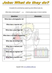 Jobs: What Do They Do? Worksheet