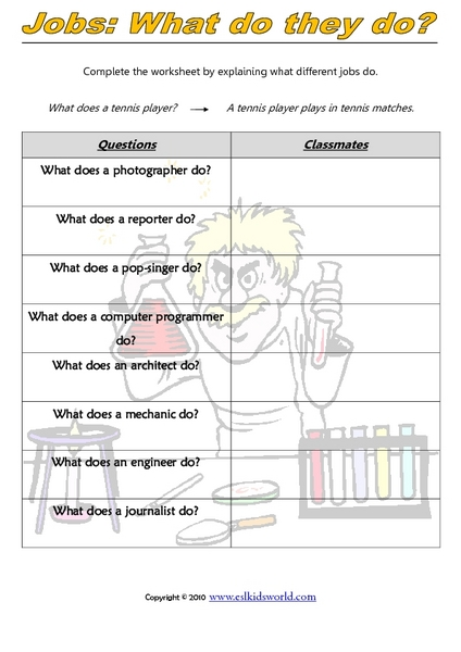 Jobs: What Do They Do? Graphic Organizer