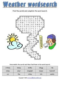 Weather Word Search 2 Worksheet