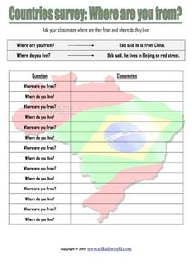 Countries Survey: Where are You From? Worksheet