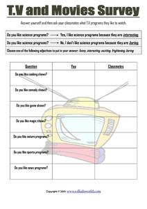 T.V. and Movies Survey Worksheet