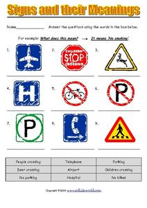Signs and Their Meanings Worksheet