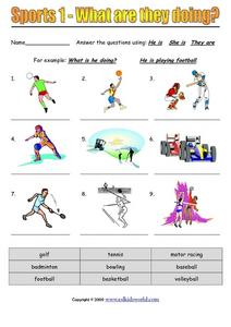 Sports 1 - What are They Doing? Worksheet