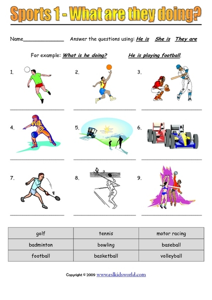 Sports 1 - What are They Doing? 3rd - 6th Grade Worksheet | Lesson ...