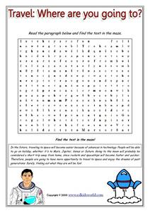 Travel: Where are You Going to? Word Maze Worksheet