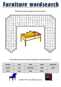Furniture Word Search Worksheet