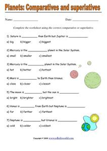 Planets: Comparatives and Superlatives Worksheet