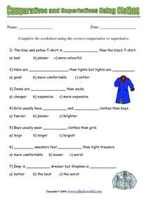 Comparatives and Superlatives Using Clothes Worksheet