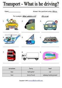 Transport - What is He Driving? Worksheet