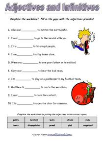 Adjectives and Infinitives Worksheet