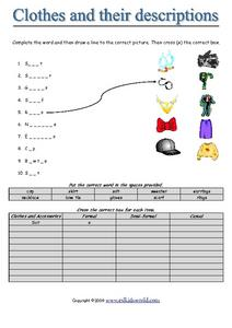 Clothes and Their Descriptions Worksheet