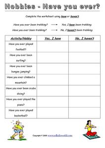 Hobbies - Have You Ever? Worksheet